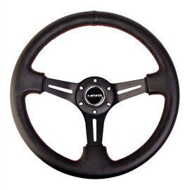 "NRG - 350mm Sport Steering Wheel (3"" Deep) Black Leather with Red Stitching"
