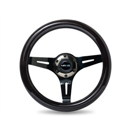 NRG - Black Dark Wood Grain Steering Wheel