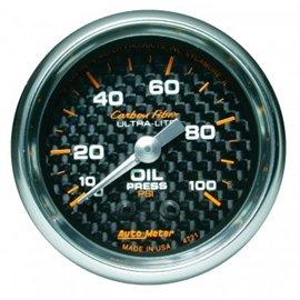 Autometer Oil Pressure 0-100 PSI MECH Carbon Gauge