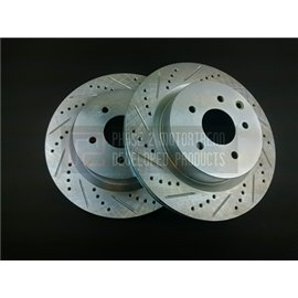 P2M - NISSAN Z33 SLOTTED / DRILLED REAR BRAKE ROTORS (PAIR) (TRACK)