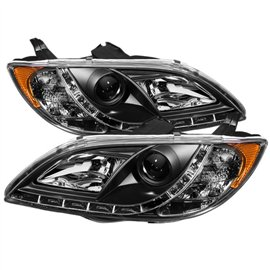 Spyder Headlight Projector Mazda 3 4Dr Sedan Halogen 04-08 Black