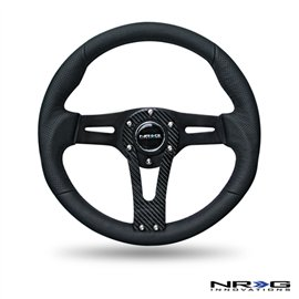 NRG - Black Leather Steering Wheel w/ Carbon Center Spoke